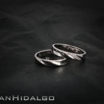 Alianza oro blanco y diamantes